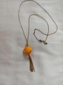 Колье и бусы - Винтажный кулон с желтой бусиной из муранского…, 0