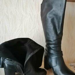 Сапоги - Сапоги демисизонные, 36 размер, натуральная кожа, высота каблука 7 см , 0
