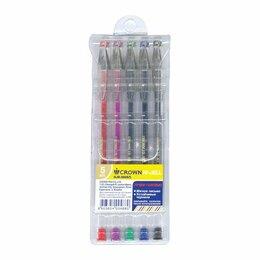 Письменные и чертежные принадлежности - Набор ручек гел  5цв.  Crown Hi-Jell Color, 0.5мм (30), 0