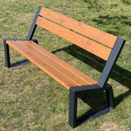 Скамейки - Скамейка садово-парковая с удобной спинкой «Stone» 1600 из термососны, 0