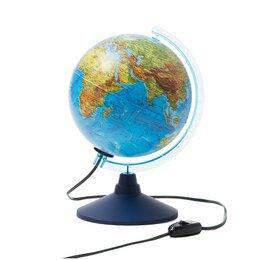 Глобусы - Глобус физико-политич. Globen, 21см, с подсветкой на круглой подст., 0