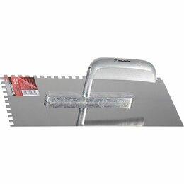 Тенты строительные - Гладилка из нержавеющей стали, 280 х 130 мм, деревянная ручка, зуб 6 х 6 мм// Ma, 0