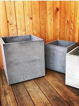 Садовые фигуры и цветочницы - Кашпо вазон лофт куб из бетона, 0