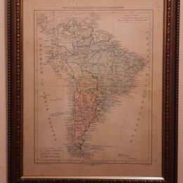 Картины, постеры, гобелены, панно - Иудейские древности. Карта распределения еврейского населения Южной Америки ., 0
