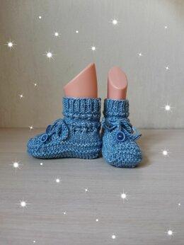 Носки - Вязаные детские Пинетки-Носочки , 0