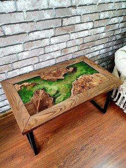 Столы и столики - Столик журнальный из массива дерева Стол река, 0