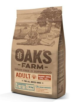 Корма  - Корм Oak's Farm Grain Free Salmon with Krill Adult, 0