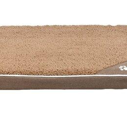 Лежаки, домики, спальные места - N1 Лежак 2 матрац велюр-лен, бежевый, нескользящий, с молнией 79*59*8 см, 0