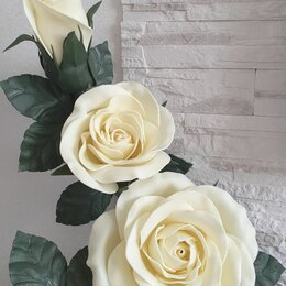 """Ночники и декоративные светильники - Цветочная композиция """"Роза с бутонами"""" из изолона, 0"""