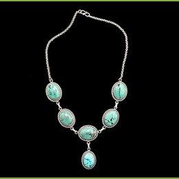 Колье и бусы - Ожерелье 43,5см серебро 925 натуральные вставки общий вес 58 гр. застёжка петля, 0