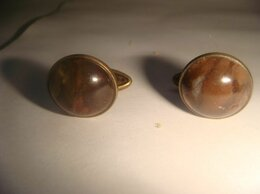 Запонки и зажимы - Запонки серебро тигровый глаз 50х годов, 0