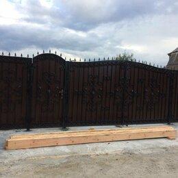 Заборы, ворота и элементы - Распашные ворота и калитка с элементами ковки, 0