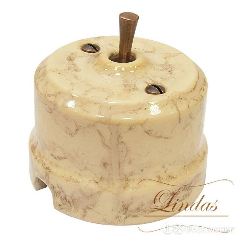 LINDAS Ретро выключатель карамель, ручка медь, 34531-C Lindas проходной по цене 2020₽ - Электроустановочные изделия, фото 0