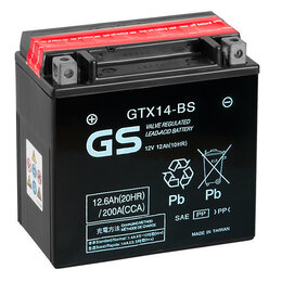 Аксессуары и запчасти - Аккумулятор для скутера GS GTX14-BS YTX14-BS, 12 A/ч, 200 A, Прямая полярность, 0