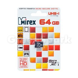 Карты памяти - Карта памяти MicroSD T-Flash Mirex 64 Gb Class 10 UHS-1 (без адаптера), 0