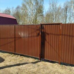 Заборы, ворота и элементы - Забор с кирпичными столбами с профнастилом, 0