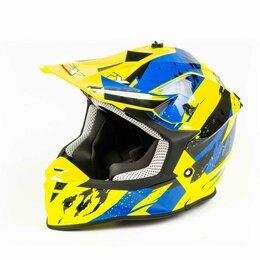 Мотоэкипировка - Шлем мото кроссовый GTX 633 (S) #1 FLUO YELLOW/BLUE BLACK, 0