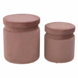 Пуфики - Пуфики круглые с ящиком для хранения розовые, 2…, 0