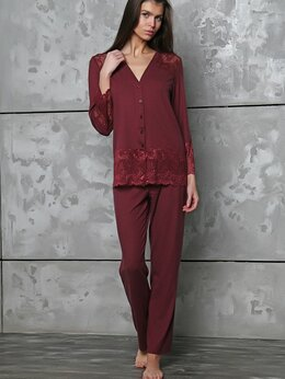Домашняя одежда - Пижама женская бордовая из вискозы на пуговках, 0