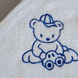 Полотенца - Детский уголок Махровый Мишка с машинкой вышивка 120х120 см (белый), 0