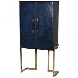 Шкафы, стенки, гарнитуры - Синий кожаный барный шкаф Kent (Berkeley Blue…, 0