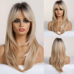 Аксессуары для волос - Парик каскад с челкой Блонд Омбре, 0