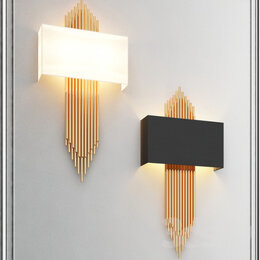 Бра и настенные светильники - Бра настеное черное (белое) латунь 2 лампы, 0