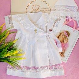 Крестильная одежда - Крестильный комплект: платье на запахе с чепчиком , 0