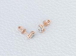 Серьги - Серьги-пусеты с 2 бриллиантами из…, 0