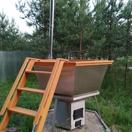 Бочки и купели - Сибирский Банный Чан на 2-4 человек на подставке с печкой из нержавеющей стали, 0