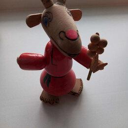 Статуэтки и фигурки - Игрушка из дерева. Ссср. Козлик с мимозой. , 0