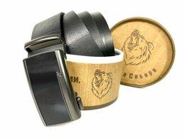Ремни и пояса - Ремень кожаный с пряжкой автомат в упаковке 1402, 0