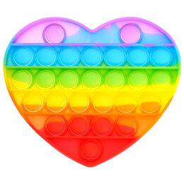 Игрушки-антистресс - Сенсорная развивающая игра Pop it, сердце, радужная, 0