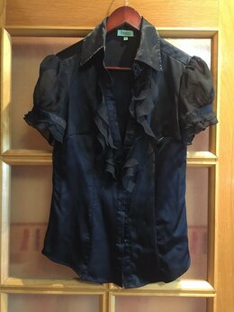 Блузки и кофточки - Блуза женская черная шелковая, 0