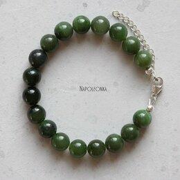 Браслеты - Браслет из нефрита и серебра. Натуральные камни,…, 0