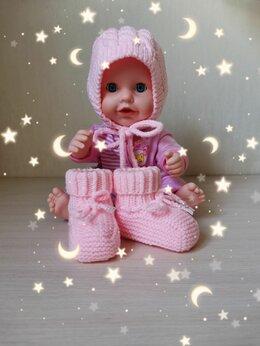 Головные уборы - Вязаный детский комплект (чепчик и пинетки)…, 0
