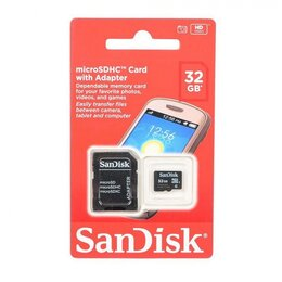Карты памяти - Карта памяти Micro SD HC 32 GB SanDisk (SDSDQM-032G-B35A) Class 10 + SD adapter, 0