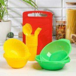 Наборы для пикника - Набор посуды на 4 персоны «В дорогу», 22 предмета, цвет МИКС, 0