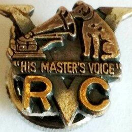 """Жетоны, медали и значки - Victor """"His Master's Voice""""- Значок, винт. Медь. 60-е, Япония.Редкость!  , 0"""