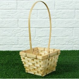 Корзины, коробки и контейнеры - Корзина плетёная, бамбук, квадратная, натуральный цвет 2054237, 0