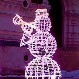 Новогодний декор и аксессуары - Светодиодная фигура снеговик, 0