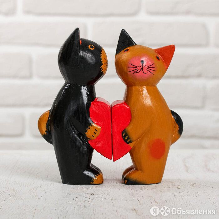 Сувенирный набор дерево 'Влюблённая парочка кошек' 16х5х16,5 см по цене 1015₽ - Рукоделие, поделки и сопутствующие товары, фото 0