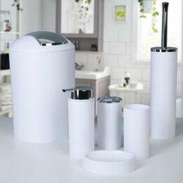 Полки, шкафчики, этажерки - Набор аксессуаров для ванной комнаты «Сильва», 6 предметов (дозатор, мыльница..., 0