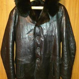 Куртки - Зимняя кожаная мужская куртка , 0