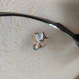 Кольца и перстни - Золотое кольцо с топазом и 5 бриллиантами, 0