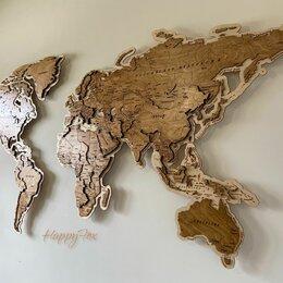Гравюры, литографии, карты - Карта мира на стену, карта мира из дерева , 0
