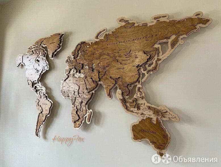 Карта мира на стену, карта мира из дерева  по цене 19500₽ - Гравюры, литографии, карты, фото 0