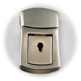 Защелки и завертки - Замок для сумки РХ074 с ключом, матовый никель, 0
