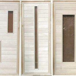 Двери - Банные штучки Дверь для сауны из липы со стеклом узкое бронзовое жаростойкое ..., 0