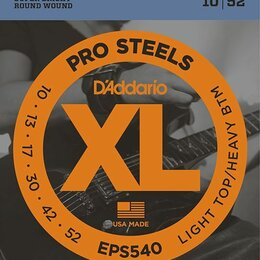 Струны - EPS540 D'Addario XL PRO STEEL Light Top/Heavy Bottom 10-52, 0